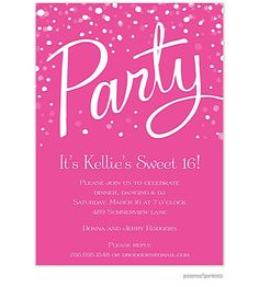 Picme Prints Party Hot Pink Invitation With Confetti Use This Festive For