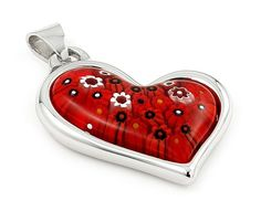 Millefiori Red Electroform .925 Sterling Silver Curved Heart Pendant ***Free Shipping To Continental U.S.A.*** 100% Secure Credit Card Checkout We guarantee that all products received from this suppli