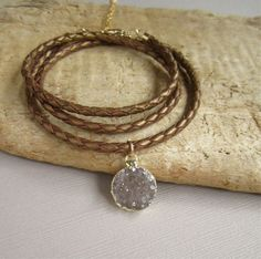 Druzy Bracelet Drusy Quartz Braided Bronze by julianneblumlo, $72.00