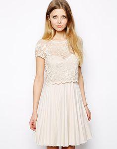 ASOS Lace Top Pleat Mini Dress