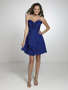 This beautiful Pretty Bridesmaids 22537 Dress is strapless with sweetheart bodice that shows off your smooth top. The delicate, feminine ruffle outlines the sweetheart neckline, making it more exciting and flirtatious. The bodice is comprised of pleats that give it a perfect fit and shape. The skirt is elegantly trimmed at mid-thigh hem with the lovely smooth chiffon. The short A line chiffon skirt gathers at the waist and sways gracefully as you enjoy the night.