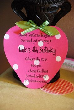 Strawberry Shortcake Birthday Invitation - Cute! Sophie's onto this for her birthday now!