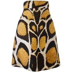 Giles Animal Print A-line High-Waisted Silk Skirt ❤ liked on Polyvore featuring skirts, high waisted knee length skirt, silk a line skirt, leopard skirt, a line skirt and leopard print skirt