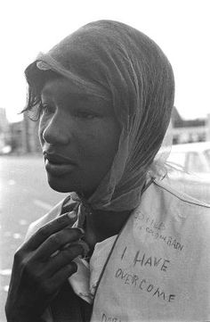 A marcher braving the wind and rain during the Selma to Montgomery March for voting rights, March 1965.