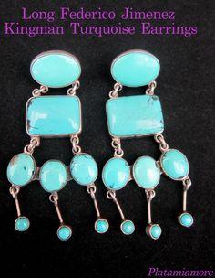 "Jumbo Federico Jimenez Natural Kingman Turquoise 3"" Dangle Earrings"