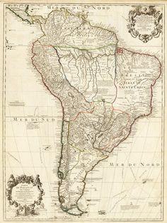 Old Map South America Brasil Venezuela Peru Argentina Chile 1708.