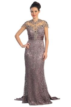 G1065 Lace Cap Sleeve Mother of the Bride Evening Gown