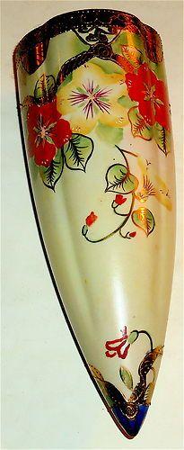 EARLY Vintage JAPAN Ceramic WALL POCKET w/FLOWERS #11! NR!