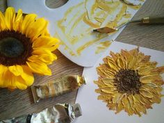 Eliza painting sunflowers.