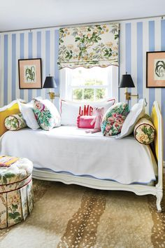 Lilly Grace's first big-girl bed is made of two estate-sale twin headboards joined together and re-covered in yellow velvet. #homedecor #home #southernliving