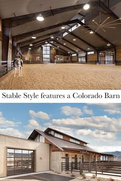 Tour an amazing modern horse property in Colorado. This facility features a barn, indoor arena, bunk house, and storage building.