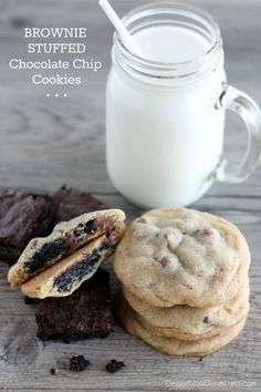 Brownie Stuffed Chocolate Chip Cookies | DessertNowDinnerLater.com #brownies #cookies #brookies