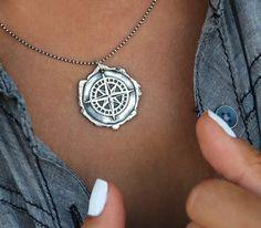 Nautical Jewelry, Nautical Necklace, Nautical Compass, Compass Necklace, Sterling Silver Nautical Compass Necklace, Nautical Compass Gift by HappyGoLicky on Etsy https://www.etsy.com/listing/255737661/nautical-jewelry-nautical-necklace