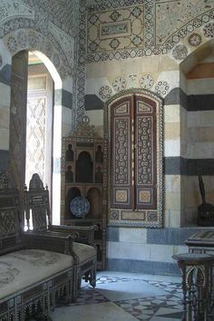 damascus style. I'm always soothed and refreshed by the spare sophistication of these small stone sitting rooms with Islamic patterns. (It moves me to alliterate, apparently.) Would definitely consider having a room inspired by this aesthetic in my own home. -RS