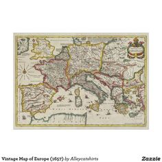Vintage Map of Europe (1657) Poster