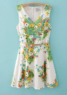 Floral Belt Dress pictures