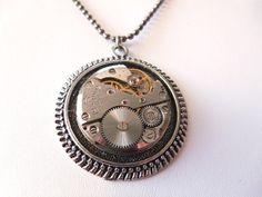 Steampunk Vintage Watch Movement Medallion Necklace by Treasurebay, $30.00