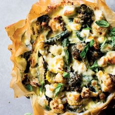 Phyllo makes a crisp case for a robust roast vegetable tart with a rich cheesy custard. Serve this roast vegetable tart alone, or with a light side salad. Baked Vegetables, Veggies, Vegetable Tart, Savory Tart, Quiche Recipes, Side Salad, Appetisers, Vegetarian, Yummy Food
