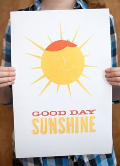 Colorful Print Yellow Sun Good Day Sunshine by ellothere on Etsy, $20.00      What I want in my kitchen :)