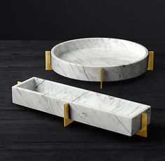 Mataro Marble and Brass Trough Collection - marble accessories -