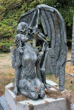 This is a static prop of the kiss of death based on a real marble sculpture from 1930 found in a cemetery in Barcelona Spain. We decided to make the human form be a woman instead of a man and… Continue Reading → Cemetery Angels, Cemetery Statues, Cemetery Art, Tattoo Tod, Statue Ange, Sculpture Romaine, Monster Mud, Old Cemeteries, Graveyards