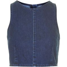 TOPSHOP MOTO Indigo Crop Top (12 CAD) ❤ liked on Polyvore featuring tops, crop tops, blue, shirts, indigo blue shirt, indigo top, blue cotton shirt, blue top and boxy tops