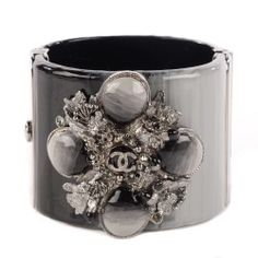 CHANEL Resin Ruthenium CC Cabochon Cuff Dark Grey