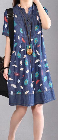 top quality denim blue cotton dresses Loose fitting holiday dresses Elegant prints