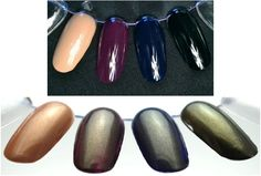 Alter Ego from Cult Nails Images from CultNails.com  Alter Ego is a sheer top coat that will cast a gold and green tinge over your polish, creating an aged, antiqued, look.   (Shown over Crusin' Nude, Vicious, Time Traveler and Nevermore.)