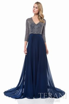 V neck mother of the bride gown with extravagantly beaded and jeweled bodice. A flowing chiffon skirt with sweep train finishes this special occasion dress.