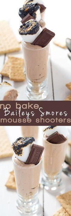 No Bake Baileys Smores Mousse Cups are a simple dessert that is filled with espresso and chocolate mousse and topped with a toasted marshmallow! A dessert you will have no idea is under 150 calories!