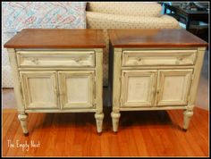 End tables painted with Chalk Paint® decorative paint by Annie Sloan Versailles by The Empty Nest.