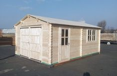 Holzgarage 400 x 44 mm, 24 m² Shed, Outdoor Structures, Building, Log Homes, Garage, House, Lean To Shed, Backyard Sheds, Buildings