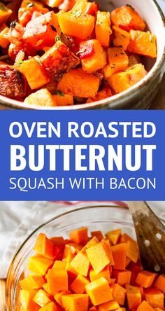 Oven Roasted Butternut Squash With Bacon -- This roasted butternut squash recipe is crazy easy to make. 3 ingredients never tasted so good -- just thick cut bacon, butternut squash cubes, and fresh thyme. The perfect paleo side dish or weeknight sheet pan meal, TOTAL winner! | baked butternut squash | baked butternut squash cubes | healthy roasted butternut squash | easy roasted butternut squash | roasted butternut squash paleo #keto #paleo #bacon #easyrecipe #whole30 #thanksgiving…