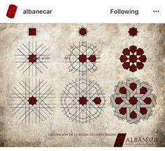 Wheel generation eight arms. Geometric Patterns, Geometric Designs, Geometric Shapes, Islamic Designs, Islamic Art Pattern, Arabic Pattern, Pattern Drawing, Pattern Art, Pattern Design