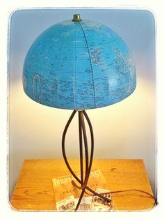 Salvaged vintage globe = new lamp shade! #DIY #crafts #upcycled #vintage #globe #lamp