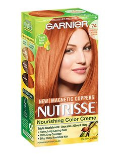 Discover the Nourishing Color Crème, Nutrisse by Garnier. The conditioning permanent hair color with triple fruit oils delivers long lasting hair color and gray hair coverage. Box Hair Dye, Dyed Hair, Orange Hair Dye, Red Hair Day, Pelo Cafe, Grey Hair Coverage, Hair Color Formulas, Creme Color, Copper Hair