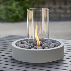 The simply elegant Cove Intrigue Table Top Outdoor Lantern features a spinning, flickering flame. Place it over the umbrella hole in your patio table, connect it to a propane tank, and enjoy the spring evening. Tabletop Fire Bowl, Fire Table, Tabletop Fireplaces, Outdoor Fireplaces, Bioethanol Fireplace, Fireplace Modern, Outdoor Lighting, Outdoor Decor, Outdoor Lantern