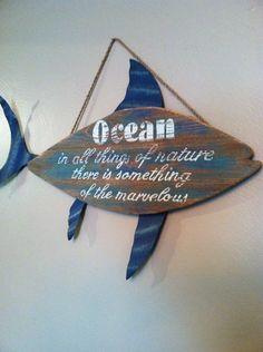Nautical Wooden Fish Sign, Nautical Decor, Beach Decor on Etsy, $55.00