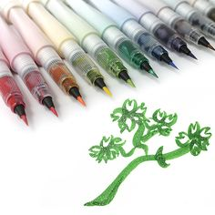 Kuretake Zig Wink of Stella Glitter Brush Pens Art Supplies, School Supplies, Artist Pens, Stationery Pens, Wink Of Stella, Best Pens, Pencil Writing, Pen And Paper, Shopping