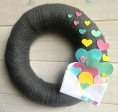 Adorable envelope delivering tons of hearts! *This listing is for an 12 wreath as shown ****This wreath can also be made as a larger wreath! 14 Round $55 16 Round $70 Custom colors can be requested, convo me! ♥ This and every Itz Fitz! wreath is handmade and made to order!