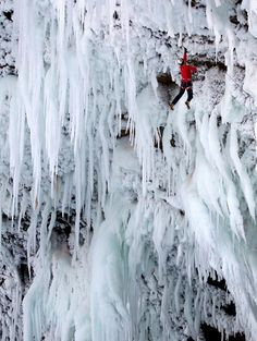 Icicle. ( Climbers tackle the world's hardest climb to become first to scale 450ft Canadian waterfall )