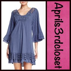 """❗️1-HOUR SALE❗️Boho Dress Crochet Trim  NEW WITH TAGS   RETAIL PRICE: $78  Boho Crochet Tunic Dress   * Relaxed fit   * 3/4 length wide sleeves, ruffle trim, & crochet details  * Scoop neck & pullover style  * About 35"""" long   * Slip lining Fabric: 100% Cotton  Color: Blue.     Item: 74400  No Trades ✅ Offers Considered*✅  *Please use the blue 'offer' button to submit an offer. Monoreno Dresses"""
