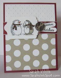 Cute holiday card featuring adorable Hedgehogs and polka dots!  www.SarahsInkSpot.com #sarahsinkspot #stampinup #holidaycard #bestofsnow #hedgehogs #snow #polkadots