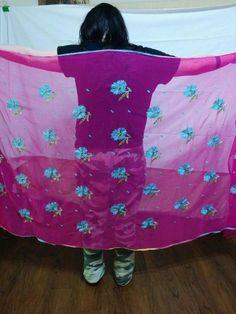 Dark Pink Chiffon Dupatta Shawl Wrap Jeweled Blue Embroidered Flowers