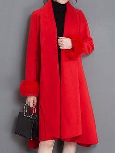 Elegant Women Long Sleeve Pocket Pure Color Pocket Woolen Coat