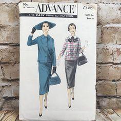 Vintage Advance 7780 Ladies Skirt Suit Size 14 Bust 32 Sewing Pattern #Advance #Skirt