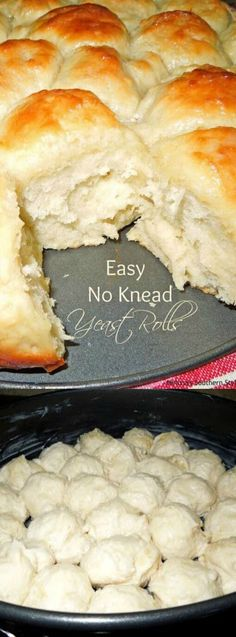 This Easy No Knead Yeast Rolls recipe from Melissa's Southern Style Kitchen are easy to make and don't require kneading of the dough.