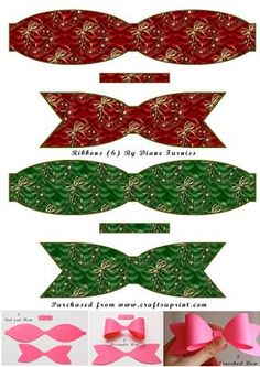 Christmas Bells, Christmas Tree Ornaments, Christmas Crafts, Christmas Headpiece, Diy And Crafts, Paper Crafts, Hair Ribbons, Square Card, Making Hair Bows