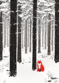 Talvikettu ~ by *Uuju.  Dip pen & ink, & crayons #forest #fox #art